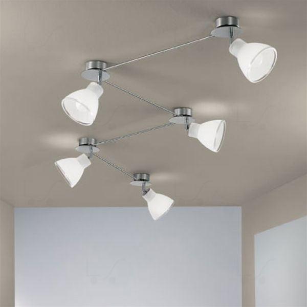 Campana binario 5 luci nichel linea light soffitto - Illuminazione bagno soffitto ...
