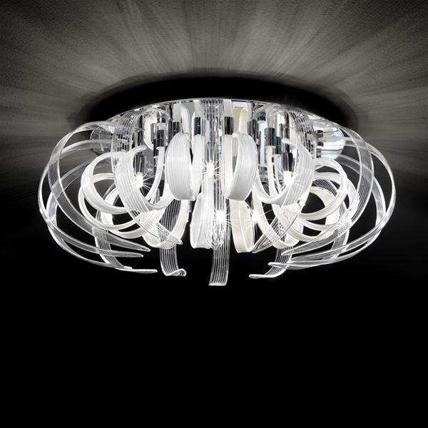 micron lampadari : Lampada da soffitto, 14 petali in vetro bianco e cristallo interamente ...