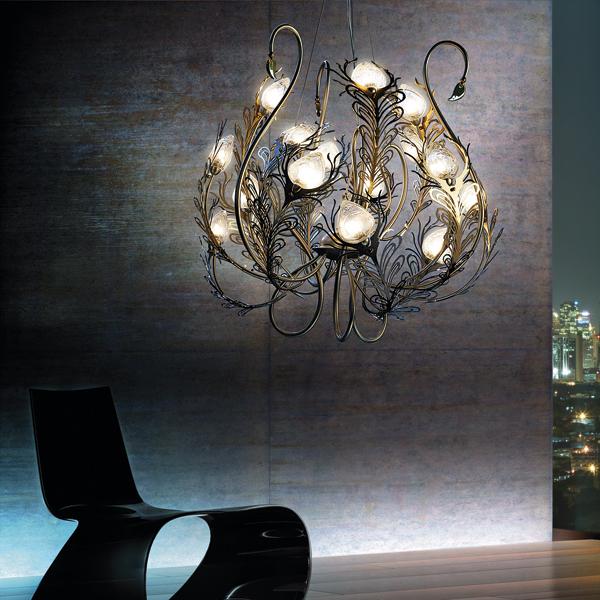 Musa lampadario 15 luci bellart lampadari sospensione progetti in luce - Lampadario camera da letto ragazza ...