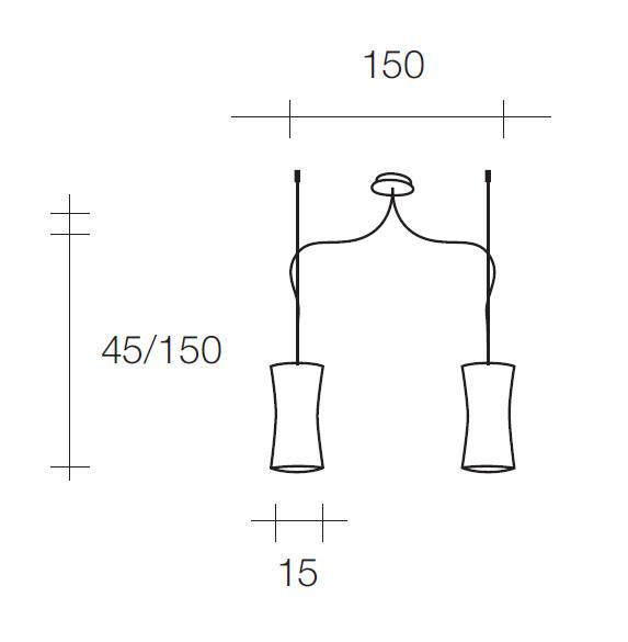 sforzin lampadari : Graziosa 2 luci - Sforzin - Lampadari Sospensione - Progetti in Luce
