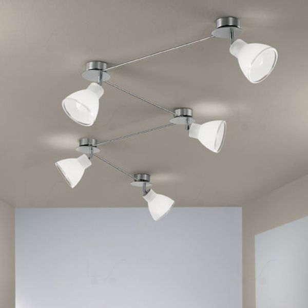 Campana binario 5 luci nichel linea light soffitto for Illuminazione a binario a led