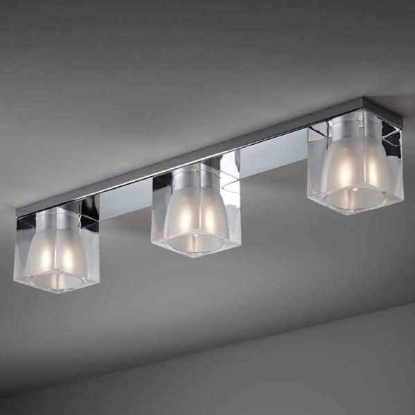 Cubetto cristallo 3 luci soffitto fabbian soffitto progetti in luce - Luci per bagno ...