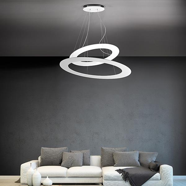 Lampadario Camera Da Letto Di Design.Drop Lampadario Di Design 2 Cerchi Giarnieri Sospensione